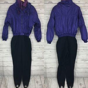 Vintage 80s ski suit puffer stirrups purple